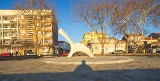 Skulptera på stranden i staden av Pomorie i Bulgarien Royaltyfri Bild