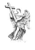 Skulpturängel som rymmer korset Arkivfoto