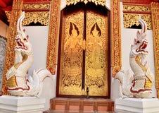 Skulptur Art Lanna und Wandgemälde thailändisch Lizenzfreies Stockbild
