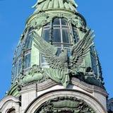 Skulptur auf der Fassade des Sängers House, St Petersburg, Russi Lizenzfreie Stockfotografie