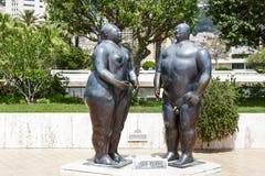 Skulptur av Adam och helgdagsaftonen i Monte - carlo Royaltyfri Bild