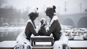 Skulptur av de forntida vännerna Royaltyfri Fotografi