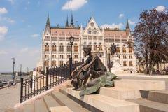 Skulptur av den ungerska poeten Attila Jozsef, Budapest, Ungern Fotografering för Bildbyråer
