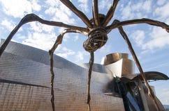 Skulptur av en spindel på Guggenheimen Bilbao Arkivbilder