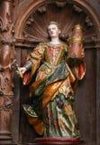 Skulptur av helgonet Barbara i den Burgos domkyrkan royaltyfri fotografi