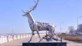 Skulptur av hjortar på flodstranden Volga lager videofilmer
