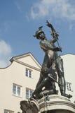 Skulptur av merkur på en springbrunn i Augsburg Arkivbilder