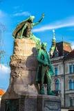 Skulptur av poeten Preseren i Ljubljana Royaltyfria Bilder