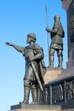 Skulptur av prinsen Yaroslav det klokt Fragment av monumentet i heder av den 1000. årsdagen av den Yaroslavl staden Det guld- ret Arkivbilder