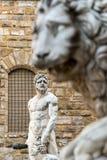 Skulptur av renässans i piazzadellaen Signoria i Florenc Royaltyfri Fotografi