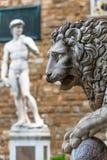 Skulptur av renässans i piazzadellaen Signoria i Florenc Royaltyfria Foton
