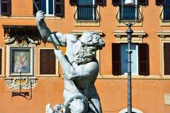 Skulptur av springbrunnen av Neptun Fontana del Nettuno Arkivbild
