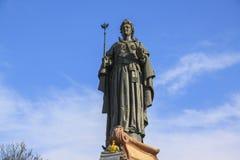 Skulptur av tsarinnan Ekaterina II i Krasnodar Metalldetaljer Arkivfoton