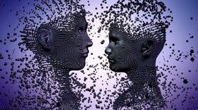 Skulptur 3d von jungen Paaren, gemacht von den Bällen Lizenzfreie Abbildung