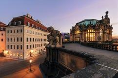 Skulptur in der alten Stadt von Dresden am Abend Deutschland, Stockfotografie