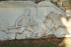 Skulptur der Jagdszene Stockfoto