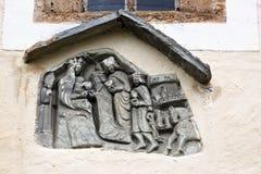 Skulptur der Maria Schnee-Pilgerfahrtkirche, Österreich Stockfotos