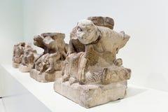 Skulptur in der mittelalterlichen Halle der romanischen Kunst Lizenzfreies Stockfoto