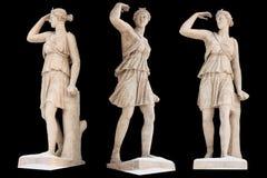 Skulptur des altgriechischen Gott Artemis-Isolats E stockfotos