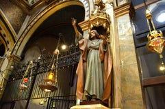 Skulptur des predigenden Prophets, Montserrat Basilica stockfoto