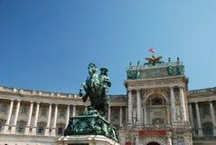 Skulptur des Prinzen Eugene bei Hofburg, Wien Stockbilder