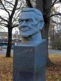 Skulptur eines Mannkopfes Stockfotos