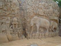 Skulptur eller hällristning Arkivfoto