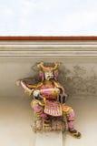 Skulptur för hög lättnad av samurajer, japansk krigare, dekorerade wi Arkivbild