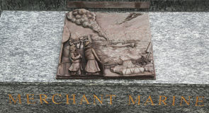 Skulptur för konst för köpmanMarine 3D lättnad i San Francisco Royaltyfria Bilder