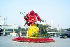 Skulptur för landskap för by för Shenzhen folkkultur, i porslin Royaltyfria Bilder