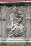Skulptur från Fonte Gaia, Siena, Tuscany, Italien Fotografering för Bildbyråer