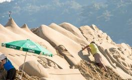 Skulptur haeundae Strand des Busan-Sandfestivals 2015 Tages Stockfotografie