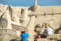 Skulptur haeundae Strand des Busan-Sandfestivals 2015 Tages Lizenzfreie Stockfotografie