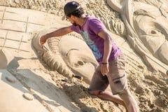 Skulptur haeundae Strand des Busan-Sandfestivals 2015 Tages Stockfoto