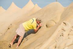 Skulptur haeundae Strand des Busan-Sandfestivals 2015 Tages Lizenzfreie Stockfotos