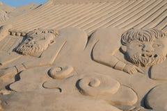 Skulptur haeundae Strand des Busan-Sandfestivals 2015 Tages Lizenzfreie Stockbilder