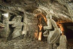 Skulptur i Wieliczka den salta minen nära Krakow Polen Arkivbild
