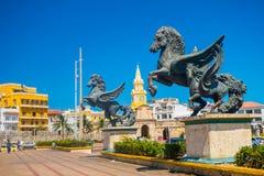 Skulptur Los Pegasos in den schönen Straßen von Lizenzfreies Stockbild
