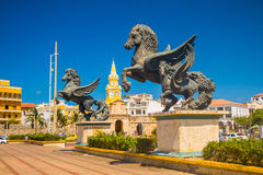 Skulptur Los Pegasos in den schönen Straßen von Stockbild