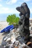 Skulptur mit drei kluges Affen hree mystische Affen Stockfotos