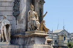Skulptur am Monument auf Placa Espana Barcelona Spanien Lizenzfreies Stockfoto
