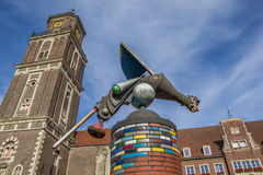 Skulptur och kyrkligt torn i Coesfeld Arkivfoton