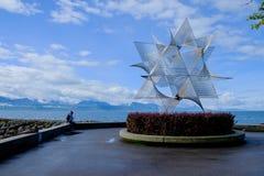 Skulptur på ouchy Lausanne royaltyfri fotografi
