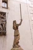 Skulptur von Dame Justice Justitia ab 1591 an der alten Stadt von Goerlitz Stockbild