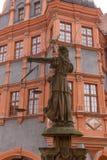 Skulptur von Dame Justice Justitia ab 1591 an der alten Stadt von Goerlitz Lizenzfreie Stockfotos