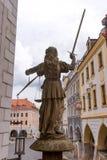 Skulptur von Dame Justice Justitia ab 1591 an der alten Stadt von Goerlitz Lizenzfreie Stockbilder