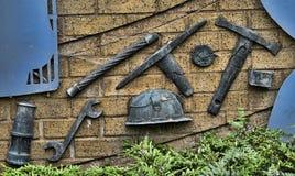 Skulptur, welche die Industrien in Burnley Lancashire feiert Lizenzfreie Stockfotos