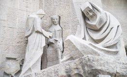 Skulptural sammansättning av den vita stenen Arkivfoton
