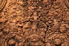 Skulpturen auf Tempel Banteay Srei, Angkor Wat Cambodia Lizenzfreies Stockfoto
