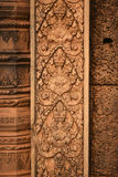 Skulpturen auf Tempel Banteay Srei, Angor Wat Cambodia Lizenzfreies Stockfoto